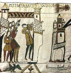 Halley's Comet (upper right) on the Bayeux Tapestry.