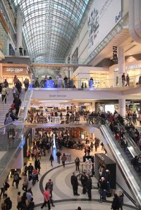 Christmas shopping in Toronto's Eaton Centre