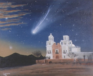 A comet soars over Mission San Xavier, near Tucson. Sonoran Hyakutake, by James Scotti; used by permission of the artist.