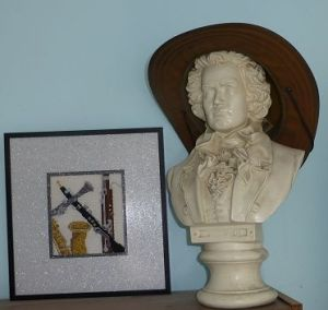 Where a musician hangs his hat. I've was given this bust of Beethoven for my 14th birthday.